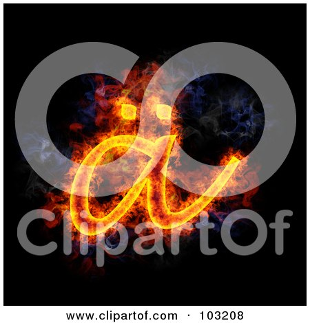 Royalty-Free (RF) Clipart Illustration of a Blazing Symbol - Lowercase A by Michael Schmeling