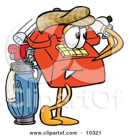 Clipart Picture of a Red Telephone Mascot Cartoon Character Swinging His Golf Club While Golfing by Toons4Biz