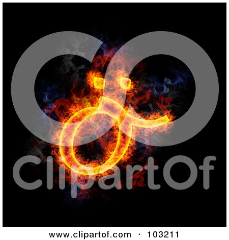 Royalty-Free (RF) Clipart Illustration of a Blazing Symbol - Lowercase O by Michael Schmeling