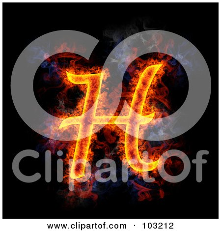 Royalty-Free (RF) Clipart Illustration of a Blazing Capital H Symbol by Michael Schmeling