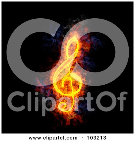 Royalty-Free (RF) Clipart Illustration of a Blazing G Clef Music Note Symbol by Michael Schmeling