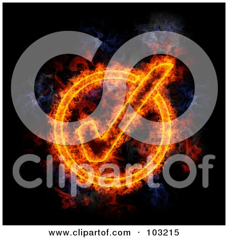 Royalty-Free (RF) Clipart Illustration of a Blazing Check Mark Symbol by Michael Schmeling