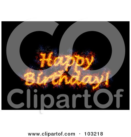 Royalty-Free (RF) Clipart Illustration of a Blazing Happy Birthday Greeting by Michael Schmeling