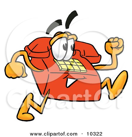 Clipart Picture of a Red Telephone Mascot Cartoon Character Running by Toons4Biz