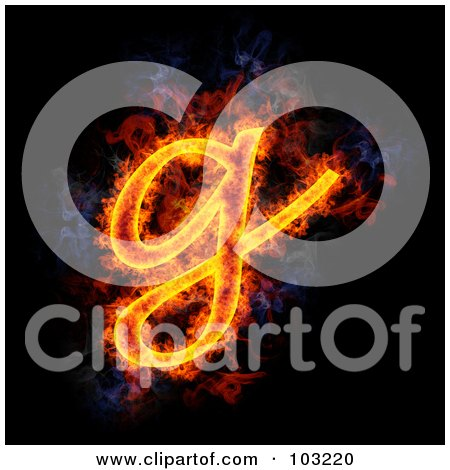 Royalty-Free (RF) Clipart Illustration of a Blazing Lowercase G Symbol by Michael Schmeling