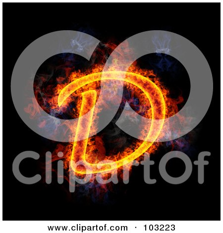 Royalty-Free (RF) Clipart Illustration of a Blazing Capital D Symbol by Michael Schmeling