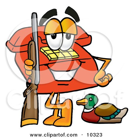 Clipart Picture of a Red Telephone Mascot Cartoon Character Duck Hunting, Standing With a Rifle and Duck by Toons4Biz