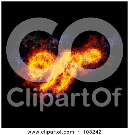Royalty-Free (RF) Clipart Illustration of a Blazing Capital Italic W Symbol by Michael Schmeling