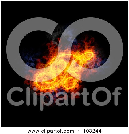Royalty-Free (RF) Clipart Illustration of a Blazing Capital Italic B Symbol by Michael Schmeling