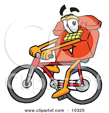 Clipart Picture of a Red Telephone Mascot Cartoon Character Riding a Bicycle by Toons4Biz