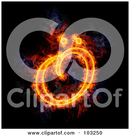 Royalty-Free (RF) Clipart Illustration of a Blazing Symbol - Capital O by Michael Schmeling