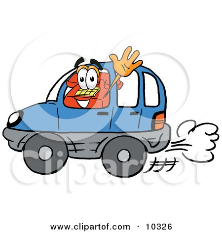 Clipart Picture of a Red Telephone Mascot Cartoon Character Driving a Blue Car and Waving by Toons4Biz