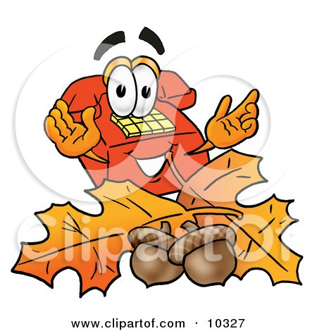 Clipart Picture of a Red Telephone Mascot Cartoon Character With Autumn Leaves and Acorns in the Fall by Toons4Biz
