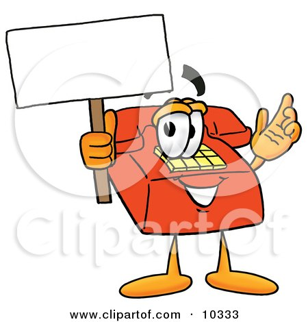 Clipart Picture of a Red Telephone Mascot Cartoon Character Holding a Blank Sign by Toons4Biz