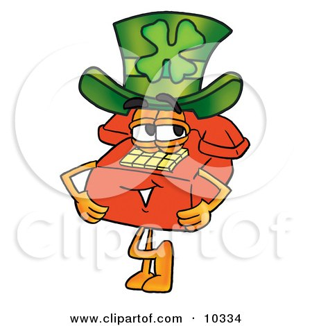 Clipart Picture of a Red Telephone Mascot Cartoon Character Wearing a Saint Patricks Day Hat With a Clover on it by Toons4Biz