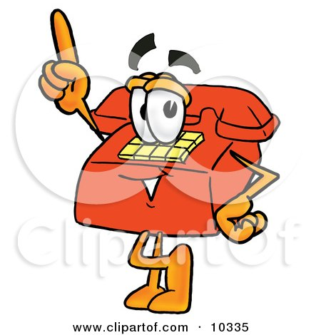 Clipart Picture of a Red Telephone Mascot Cartoon Character Pointing Upwards by Toons4Biz