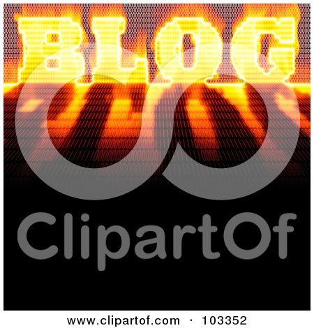 Royalty-Free (RF) Clipart Illustration of a Fiery Binary Blog Word With A Shadow by Arena Creative