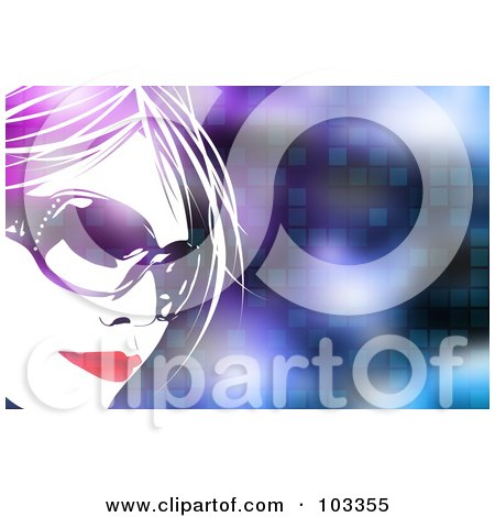 Royalty-Free (RF) Clipart Illustration of a Pretty Woman Wearing Shades Over A Pixel Background by Arena Creative
