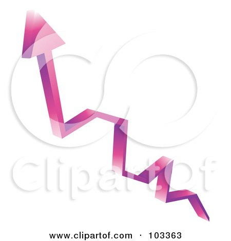 Royalty-Free (RF) Clipart Illustration of a 3d Purple Arrow Shooting Upwards by MilsiArt