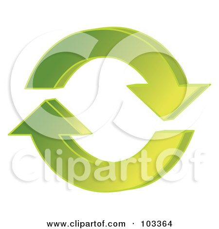 Royalty-Free (RF) Clipart Illustration of 3d Green Circling Arrows  by MilsiArt