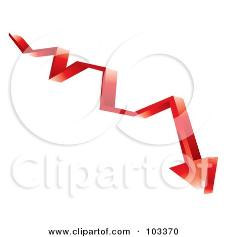 Royalty-Free (RF) Clipart Illustration of a 3d Red Arrow Shooting Down by MilsiArt