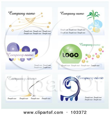 Royalty-Free (RF) Clipart Illustration of a Digital Collage Of Six Business Card Designs With Sample Text - 1 by MilsiArt