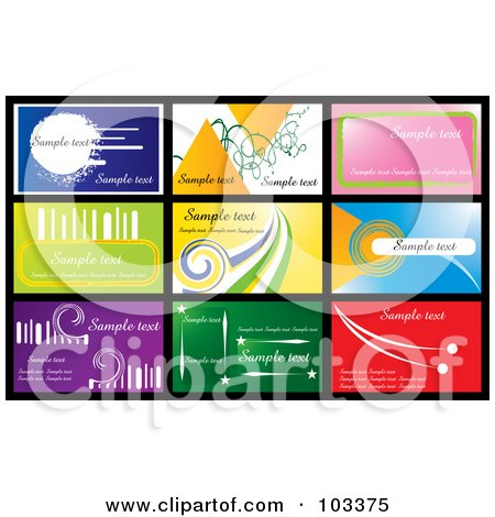 Royalty-Free (RF) Clipart Illustration of a Digital Collage Of Nine Business Card Designs With Sample Text - 1 by MilsiArt