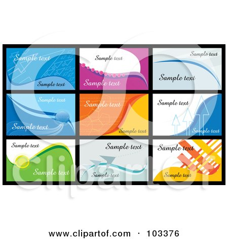 Royalty-Free (RF) Clipart Illustration of a Digital Collage Of Nine Business Card Designs With Sample Text - 2 by MilsiArt