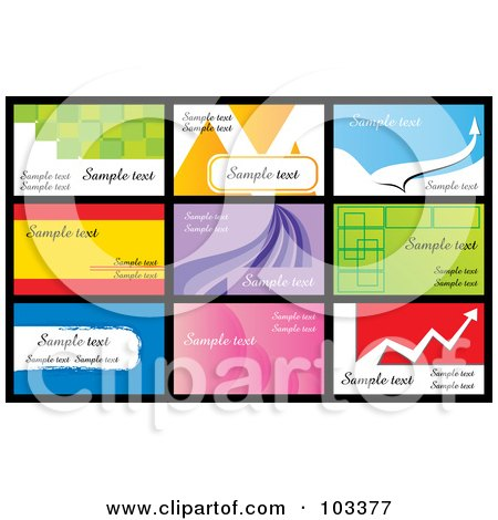 Royalty-Free (RF) Clipart Illustration of a Digital Collage Of Nine Business Card Designs With Sample Text - 3 by MilsiArt