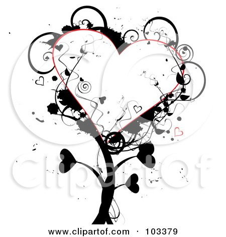 Royalty-Free (RF) Clipart Illustration of a Grungy Heart Tree With Black Foliage by MilsiArt