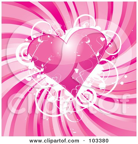 Royalty-Free (RF) Clipart Illustration of a Shiny Pink Heart With Grungy White Vines Over Swirling Pink by MilsiArt