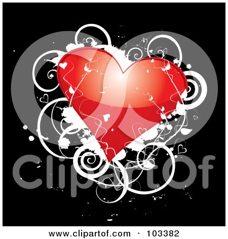 Royalty-Free (RF) Clipart Illustration of a Shiny Red Heart With White Vines And Grunge On Black by MilsiArt