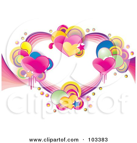 Royalty-Free (RF) Clipart Illustration of Clusters Of Shiny Hearts, Stars, Halftone And Circles Forming A Heart by MilsiArt