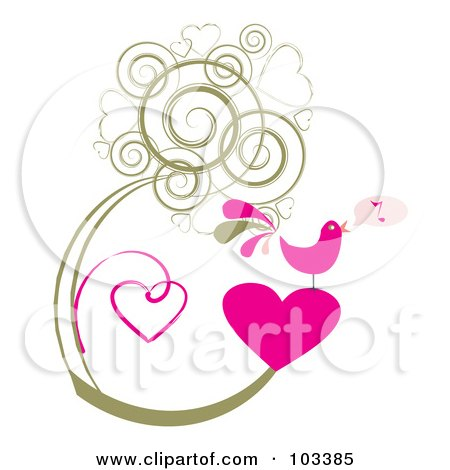 Royalty-Free (RF) Clipart Illustration of a Pink Singing Bird On A Heart, With Grungy Heart Vines by MilsiArt
