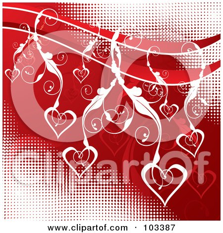 Royalty-Free (RF) Clipart Illustration of White Floral Vines And Hearts Over Red And White Halftone by MilsiArt