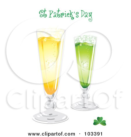 Royalty-Free (RF) Clipart Illustration of a St Patricks Day Greeting With Gold And Green Beer And A Clover by MilsiArt