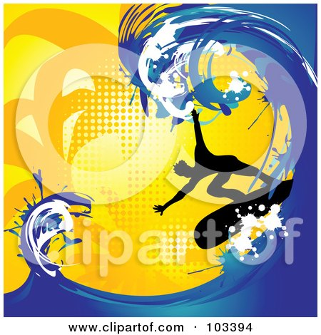 Silhouetted Surfer Riding A Big Blue Wave On Orange Halftone Posters, Art Prints