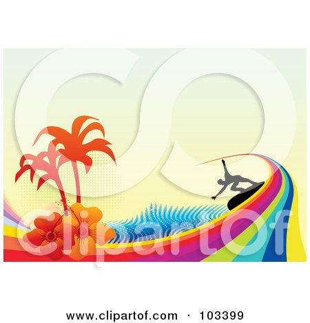 Royalty-Free (RF) Clipart Illustration of a Silhouetted Surfer Riding A Rainbow Wave, With Hibiscus Flowers, Palm Tree And Halftone On Beige by MilsiArt