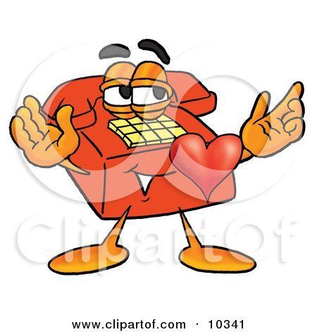 Clipart Picture of a Red Telephone Mascot Cartoon Character With His Heart Beating Out of His Chest by Toons4Biz