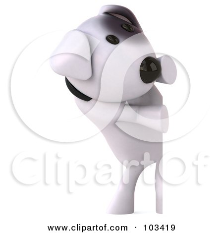 Royalty-Free (RF) Clipart Illustration of a 3d Bull Terrier Dog Looking Around A Blank Sign by Julos