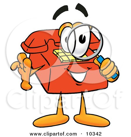 Clipart Picture of a Red Telephone Mascot Cartoon Character Looking Through a Magnifying Glass by Toons4Biz