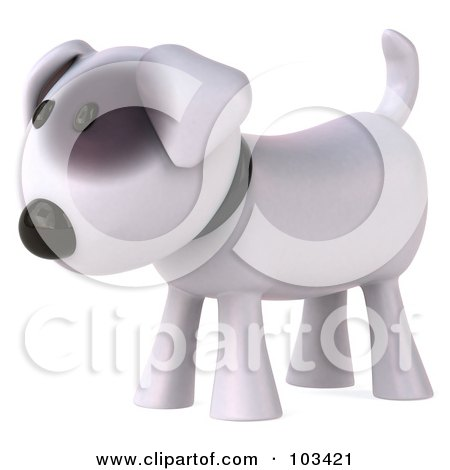 Royalty-Free (RF) Clipart Illustration of a 3d Bull Terrier Dog Facing Left by Julos