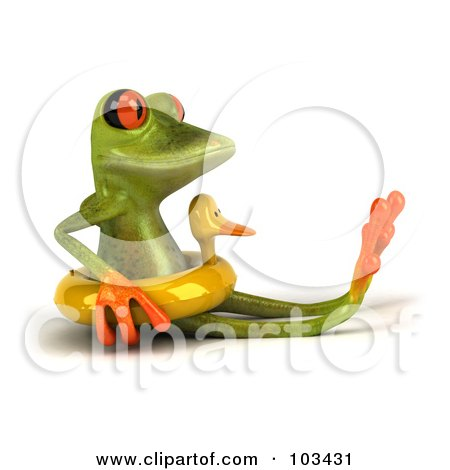 Royalty-Free (RF) Clipart Illustration of a 3d Springer Frog Sitting In A Duck Floatie by Julos