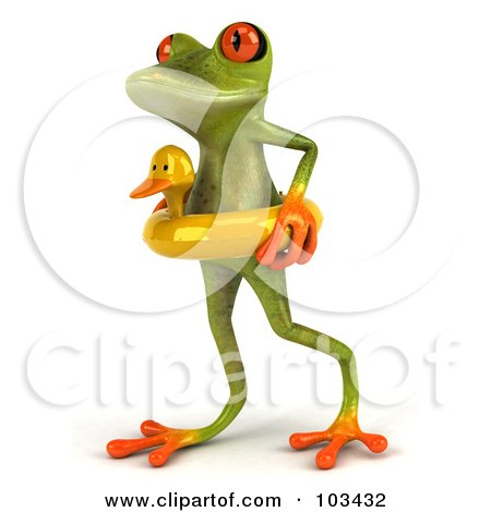 ... Clipart Illustration of a 3d Springer Frog Walking In A Duck Floatie