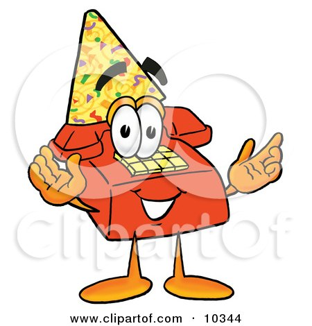 cartoon characters birthday.  a red telephone mascot cartoon character with his arms out at his sides,