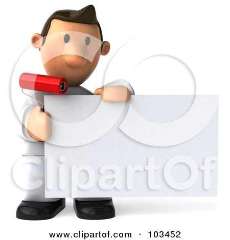 Royalty-Free (RF) Clipart Illustration of a 3d Toon Guy House Painter Holding Up A Blank Card by Julos