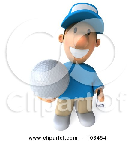 Royalty-Free (RF) Clipart Illustration of a 3d Golfer Toon Guy Holding A Ball by Julos