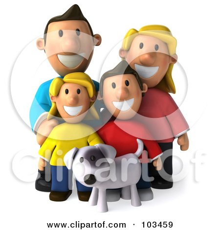 Royalty-Free (RF) Clipart Illustration of a 3d Happy Caucasian Family Standing With Their Dog by Julos