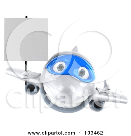 Royalty-Free (RF) Clipart Illustration of a 3d White And Blue Airplane Character Flying Forward With A Blank Sign by Julos