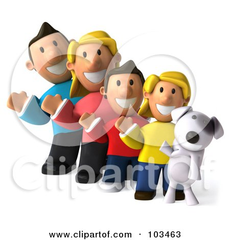 Royalty-Free (RF) Clipart Illustration of a 3d Happy Caucasian Family And Their Dog, Waving by Julos
